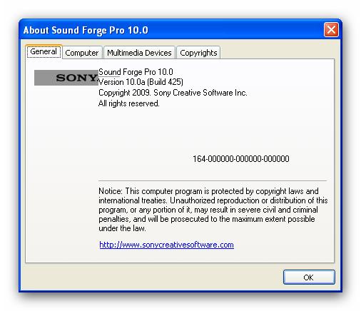Скачать программу Portable Sony Sound Forge Pro 10.0a Build 425 (151.