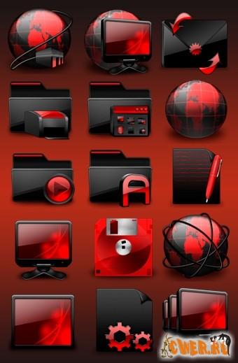 Иконки → glossy red icons set