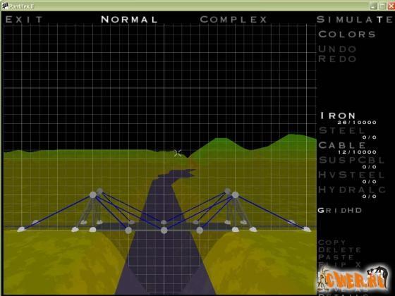 Hra na stavbu mostov na počítači