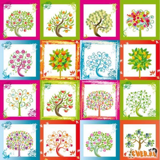 16 цветных деревьев в одном eps файле