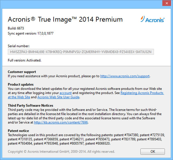 acronis true image home 2014 serial number
