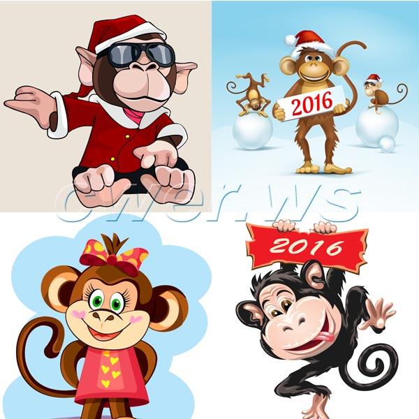 Векторные обезьянки: символ 2016 года