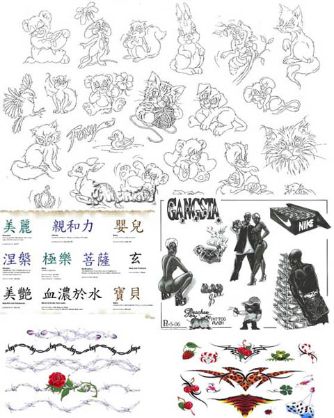 Большая комплект татуировок