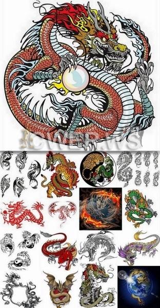 Драконы - векторные татуировки