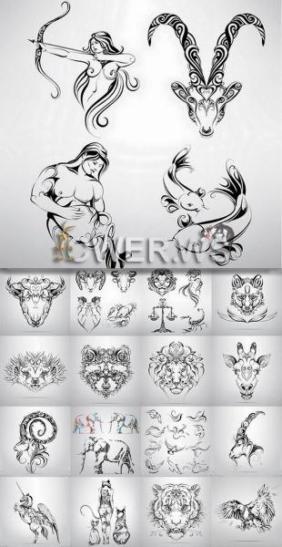 Татуировки диких животных равно знаков зодиака