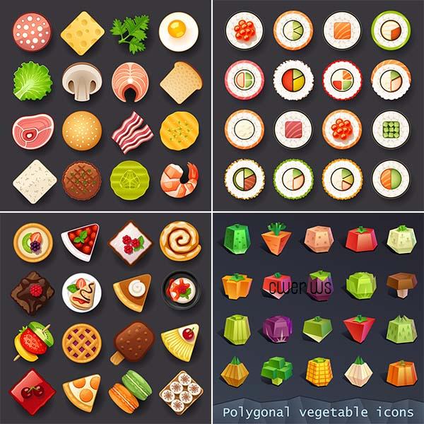 Иконки с разной едой